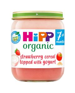 HiPP Organic Strawberry Cereal topped with yogurt Baby Food Jar 7+ Months (6 X 160g)