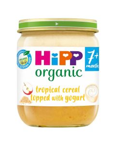 HiPP Organic Tropical Cereal topped with yogurt Baby Food Jar 7+ Months (6 x 160g)