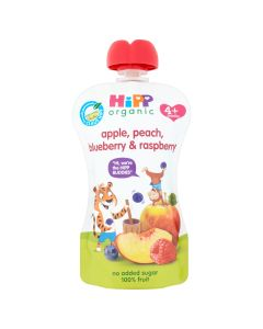 HiPP Organic Apple Peach Blueberry and Raspberry Baby Food Pouch 4+ Months (6 x 100g)