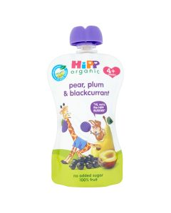 HiPP Organic Pear Plum and Blackcurrant Baby Food Pouch 4+ Months (6 x 100g)