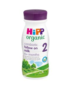 HiPP Organic 2 Follow on Baby Milk Ready to feed bottle from 6 months (8 x 200ml)