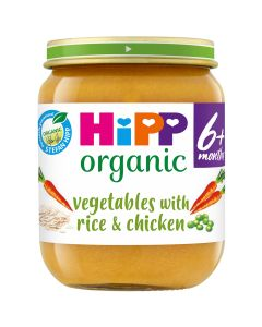 HiPP Organic Vegetables with Rice And Chicken Baby Food Jar 6+ Months (6 x 125g)