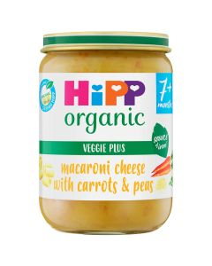 HiPP Organic Macaroni Cheese With Carrots & Peas Baby Food Jar 7+ Months (6x190g)